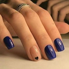 Beautiful summer nail art designs to try this summer 2017 Beautiful Navy Blue nails with tiny Heart shape. pink nail polish on rounded shaped nail.Beautiful Navy Blue nails with tiny Heart shape. pink nail polish on rounded shaped nail. Gel Nail Designs, Cute Nail Designs, Nails Design, Navy Blue Nail Designs, Blue Nails With Design, Toe Nail Designs For Fall, Blue Design, Nail Designs With Hearts, Shape Design