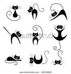 Black cat collection. Cats in various poses by Barmaleeva, via Shutterstock