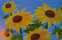 """Sunflower art - """"The Answers are Blowin' in the Wind"""" - acrylic painting by Lorraine Skala - prints and notecards available at lorriskala@ aol.com"""
