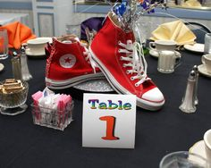 Sneaker centerpiece for a Bar Bat Mitzvah - simple and cute!