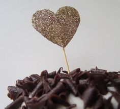 Heart of Gold Glitter Cupcake Toppers 20 pieces