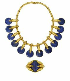 AN 18 CARAT GOLD AND SODALITE SUITE, BY LALAOUNIS