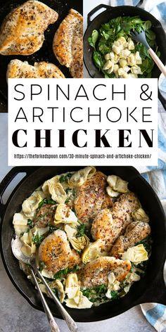 Fresh Artichoke Recipe, Chicken Artichoke Recipes, Artichoke Heart Recipes, Artichoke Dip, Chicken Recipes, Pasta With Artichoke Hearts, Artichoke Spinach, Creamy Spinach, Baby Spinach