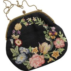 Vintage Pettipoint Black Floral Purse - early 20th Century