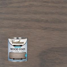 classic smoke gray water-based interior wood stain provides a low odor, rich natural color that beautifully enhances the wood grain. Applies easily with high quality synthetic brush, lint-free Cabinet Stain Colors, Minwax Stain Colors, Varathane Wood Stain, Weathered Grey Stain, Grey Wood, Gray Stained Cabinets, Interior Wood Stain, Stain On Pine, Staining Cabinets