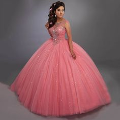Mary's Quinceanera 4768 Sparkling tulle quinceanera ball gown with beaded illusion scoop neck, beaded bodice, basque waist line, and back with opening and lace-up Quince Dresses, Ball Dresses, Ball Gowns, Prom Dresses, Formal Dresses, Chiffon Dresses, Long Dresses, Sweet 15 Dresses, Pretty Dresses