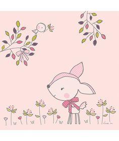 Palette de roses poudre_s... Ambiance printanie_re et fleurie. Une chambre de petite fille ou_ tout n'est que douceur et de_licatesse.