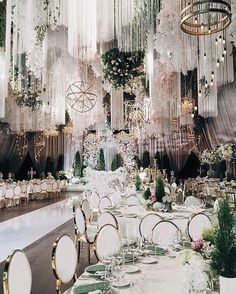 Opulent wedding decor for a glam Gatsby themed celebration. Those gold rimmed chairs are just perfect! Opulent wedding decor for a glam Gatsby themed celebration. Those gold rimmed chairs are just perfect! Wedding Wows, Boho Wedding, Wedding Ceremony, Dream Wedding, Wedding Day, Trendy Wedding, Elegant Wedding, Extravagant Wedding Decor, Garden Wedding