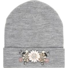 River Island Grey marl embellished beanie hat (€21) ❤ liked on Polyvore featuring accessories, hats, beanie, beanie hats, river island, embellished hats, grey beanie hat and river island hat