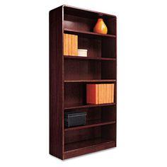 Radius Corner Wood Veneer Bookcase, 6-Shelf, 35-3/8 x 11-3/4 x 72
