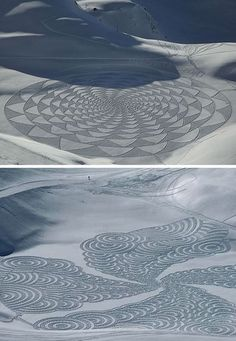 drawings by snow artist Simon Beck,   sort of monumental embroideries from a winter wonderlandmikapoka: snow embroideries