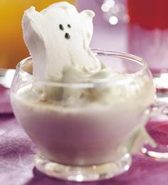 Haunting Hot Chocolate  This hot white chocolate drink looks even spookier with a ghost-shape marshmallow floating in it.