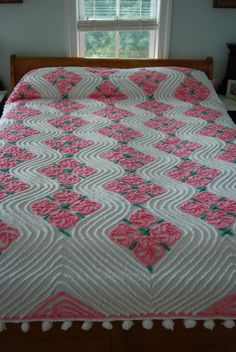 SUPER SALE Pretty in Pink Pom Pom Chenille Bedspread. $190.00, via Etsy.