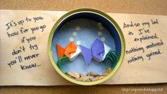 Un Piano B - The sword in the stone: upcycled tuna cans and origami fishes.