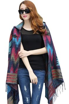 VamJump Women Winter Hooded Tassel Plaid Batwing Cardigan Coat Ponchos Cape Blue