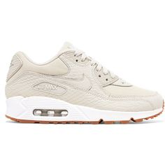Nike Air Max 90 Premium snake-effect leather and mesh sneakers ($135) ❤ liked on Polyvore featuring shoes, sneakers, neutral, 80s shoes, laced up shoes, leather shoes, nike trainers and nike sneakers