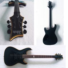 Schecter Blackjack Atx [Custom]  Body. : Mahogany  Neck. : Maple  Bridge : Fixed bridge  Tuner.  : Grover black Pickup : Schecter Pasif  Finishing : Vintage black   #DIY #Guitar