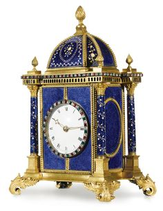 A fine George III paste-mounted ormolu and parcel-gilt blue enamel musical table clock, Francis and Paul John Barraud, London circa 1770 for the Chinese market the 3-inch enamel dial with paste-set bezel, three train fuse Thwaites movement numbered 336, with verge and balance wheel escapement mounted on the backplate, playing one of four tunes on nine bells with nine hammers at the hour