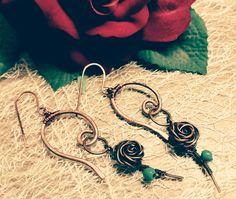 Σκουλαρίκια τριαντάφυλλο σε χαλκό αντικέ