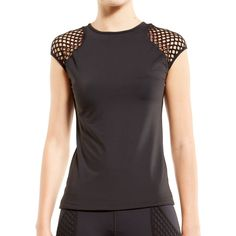 NEW! STORME CAP SLEEVE TOP $95.00  The perfect basic athletic tee with mesh shoulder and cap sleeve detailing Silky-soft,super-lightweight...