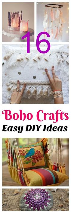 16 DIY boho crafts that would be perfect for teens or for a bedroom, living room decor or dorm. teen crafts, easy projects, crafts to make and sell, easy craft projects boho crafts DIY DIYgifts pillows teencrafts feathers tassles pouf 300122762666094644 Easy Craft Projects, Easy Diy Crafts, Diy Projects For Teens, Diy Crafts To Sell, Decor Crafts, Sewing Projects, Space Crafts, Wood Projects, Décor Boho
