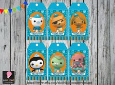 6x OCTONAUTS Thank you Tags  Printable  by LollipopPartyDesigns