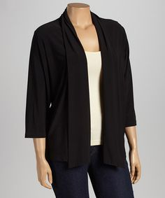 This Black Crepe Open Cardigan - Plus by Autonomy is perfect! #zulilyfinds
