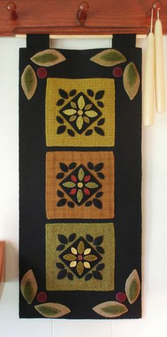 Wool applique wall hanging primitive by HorseAndBuggyCountry