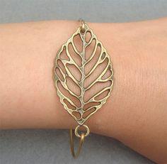 Brass leaf bracelet