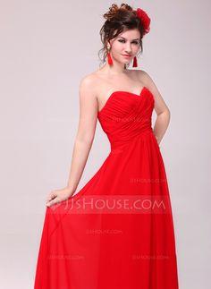 Vestidos princesa/ Formato A Coração Longos De chiffon Vestido de madrinha com Pregueado (007051847)