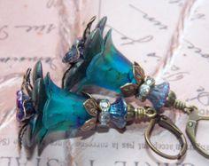 Lucite Earrings, Flower Earrings, 'Metallic Peacock', Victorian Earrings, Boho Earrings, Drop Earrings, Teal Earrings, Hand Painted Earrings