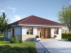 Two bedroom house plans - Houz Buzz Bungalow Haus Design, Modern Bungalow House, House Design, Beautiful House Plans, Simple House Plans, Hip Roof Design, Tiny Guest House, Two Bedroom House, Design Exterior