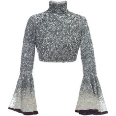 Hussein Bazaza Silk Sequin Cropped Top ($1,800) ❤ liked on Polyvore featuring tops, metallic, turtleneck top, embellished crop top, silk top, sequin sleeve top and white embellished top