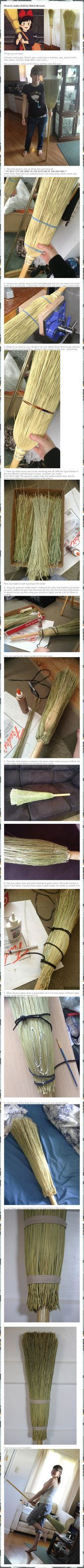how to redo a broom to look like kiki's broom from kiki's delivery service -- Could also be used for Harry Potter cosplay/any witch costume Kiki Cosplay, Cosplay Diy, Cosplay Makeup, Costume Makeup, Cosplay Outfits, Halloween Cosplay, Best Cosplay, Halloween Fun, Cosplay Ideas