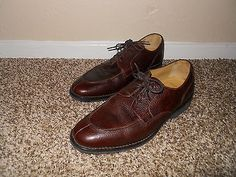 Mens Brook Brother 346 Size 9.5 D Dark Brown Pebble Split Toe Dress Oxford Shoes