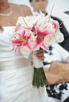 stargazer lilies and white rose bouquet