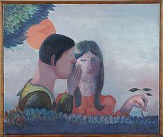 Pirkko Lepistö: Viskande par, 1969, olja på duk, 46x55 cm - Stockholms Auktionsverk
