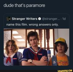 Dude that's paramore Luª Stranger Writers & ©stranger. - name this film. wrong answers only. Emo Band Memes, Funny Test Answers, Style Me Pretty Living, Hate People, Hayley Williams, Deck Of Cards, My Chemical Romance, My Guy, Tips