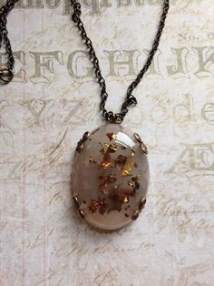 Resin and Bronze Leaf Pendant with Vintaj Brass by TLCadornments