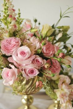 Beautiful floral arrangement featuring pink and green.