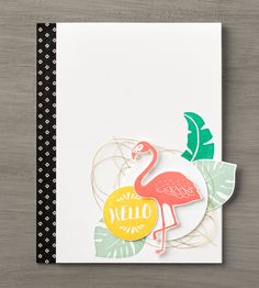 Who doesn't love a bright, colorful tropical card? And that flamingo? So cute! Be sure to get your own copy of the Pop of Paradise stamp set! #stampinup