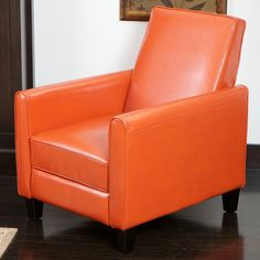 Orange Bonded Leather Recliner Club Chair Living Room Furniture Deep Seating New #Contemporary