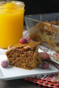 Pumpkin Bars w- Caramel Frosting Gluten Free & Vegan. ☀CQ #glutenfree #vegan #pumpkin