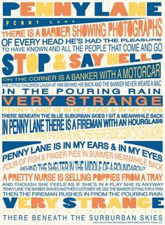 The Beatles: Penny Lane. One of my very favorite Beatles songs ! Beatles Lyrics, Beatles Art, Music Lyrics, The Beatles, Lyric Art, Lyric Quotes, Penny Lane Lyrics, Lyrics To Live By, Music Tv