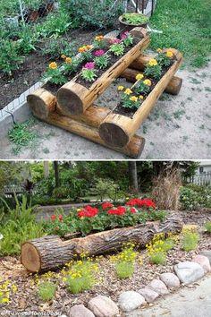 Wood Log Planters.