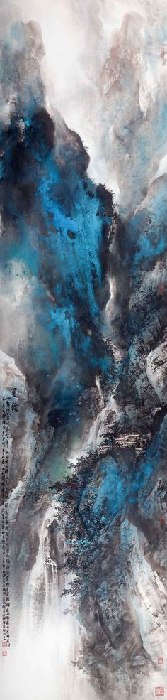 Japan Painting, China Painting, Abstract Iphone Wallpaper, Chinese Landscape, Mountain Paintings, China Art, Landscape Paintings, Oriental, Abstract Art