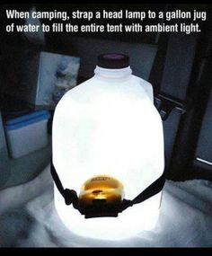When camping, stick a headlamp around a water jug and it will light up the tent. When camping, stick a headlamp around a water jug and it will light up the tent. When camping, stick a headlamp around a water jug and it will light up the tent. Camping Hacks, Vw Camping, Camping Survival, Survival Tips, Outdoor Camping, Survival Skills, Camping Essentials, Family Camping, Camping Checklist