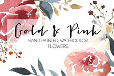 Watercolor Gold & Pink Flowers - Illustrations