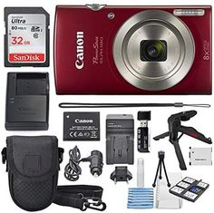 Canon PowerShot ELPH 180 Digital Camera (Red) + SDHC Memory Card + Flexible tripod + AC/DC Turbo Travel Charger + Replacement battery + Protective camera case with Deluxe Bundle 8 Ac Dc, Best Waterproof Camera, Best Camera For Photography, Dslr Photography, Canon Powershot Elph, Best Dslr, Smart Auto, Point And Shoot Camera, Camera Hacks
