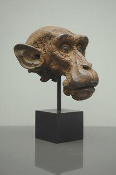 "Quentin Garel, Petit macaque, Bronze, 14½"" x 11"" x 11½"" #art #axelle #sculpture"